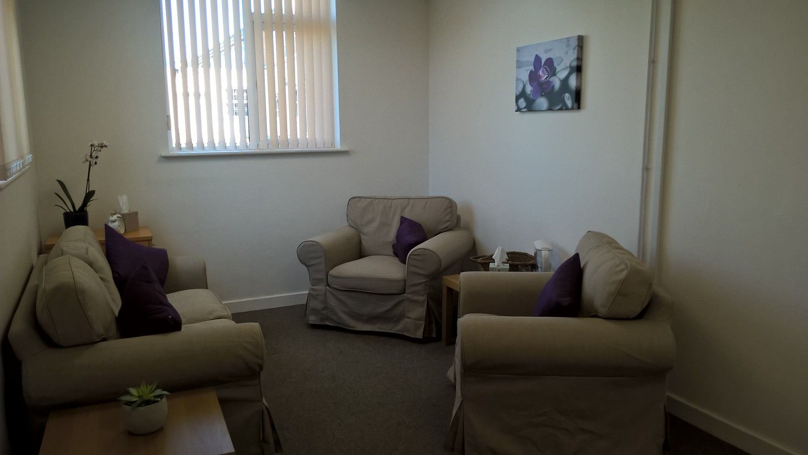 Sarah Tinsley relaxing counselling room for individuals in Chorley
