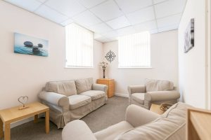 Calm and welcoming therapy counselling room Chorley and Online